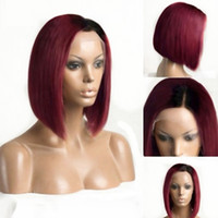 Wholesale bob red ombre wigs resale online - Tones Ombre Wine Red Short Bob b burgundy Glueless Lace Front Wigs Side Part inch Straight Medium Brown Lace Wig