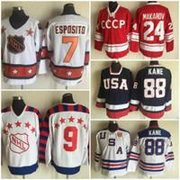 ingrosso kane usa hockey jersey-Vintage 24 Sergei Makarov Jersey 1980 CCCP Russia All Star 7 Phil Esposito 9 Mike Modano 2010 Team USA 88 Patrick Kane Stitched