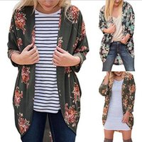 Wholesale Girl Rose Coat - Women Vintage Rose Floral Loose Shawl Kimono Cardigan Boho Tops Jacket Blouse Floral Printing Long Shirts OOA3870