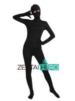 черный полный костюм боди костюма оптовых-ZentaiHero NEW Adult Black Unisex Lycra Spandex Zentai Dancewear Full Bodysuit Sexy Fancy Dress Costume Open Eyes A1337