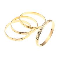 Wholesale 18k bracelet dubai for sale - 4pcs Dubai Gold Bangles for Women Men Gold Color Wide Bracelets African European Ethiopia Jewelry Bangles