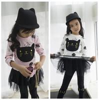 ingrosso abiti di gatto bianco-2018 Primavera Autunno Ragazze Suit Cute Cat Print Bianco / rosa Maglione Gonna nera Legging Pant Baby Girl Clothes Bambini Set