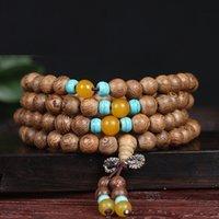 ingrosso legno buddista-108 * 0.6cm Wenge Legno Preghiera perline Ebano naturale Legno Mala BraceletBangle Buddha Rosario Collana gioielli buddisti