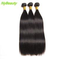 siyah örgü saç uzantıları toptan satış-Toptan Brezilyalı Saç Örgüleri 3/4 Demetleri Ipeksi Düz Saç Uzantıları İnsan Saç Demetleri Siyah Kadınlar Için