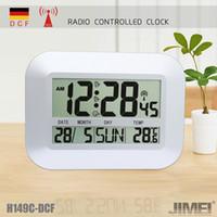 calendario controlado por radio al por mayor-Reloj digital de pared / mesa Reloj controlado por radio con alarma Temporizador de temperatura Calendario para uso doméstico H149C-DCF plata