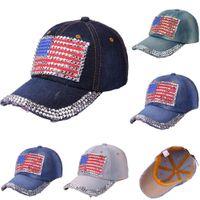 junge jeans für frauen großhandel-2018 amerikanische Flagge Cap hohe Qualität Hysteresenkappe Demin Baseball Jean Abzeichen Stickerei Hut Frauen Junge Bling 1a16