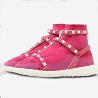 botines blancos de punto al por mayor-2018 botines elásticos de punto ocasionales para las mujeres remaches blancos plataforma tachonada talones planos zapatillas de deporte calcetines zapatos botines femeninos