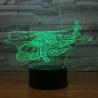 helikopter pilleri toptan satış-Helikopter 3D Illusion ışık Lamba 3D Optik Lamba AA Pil USB Powered 7 RGB Işık DC 5 V Toptan Ücretsiz Kargo