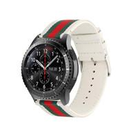 naylon saat bantları 22 mm kayışları toptan satış-Difeini Samsung Dişli S3 Watch Band Sınır 22mm Naylon Stil Deri Spor Yedek Kayış Samsung Gear S3 Beyaz için