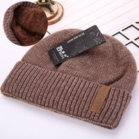 Wholesale Football Beanie Baby - 2018 new hat Korean men's headdress plus velvet thick double wool cap autumn and winter knitted hat Beanies Baby Hat Beanie Skully Hats