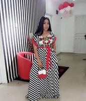 Wholesale empire roses - women's dress Summer Stripe Split Joint Embroidery Rose Commute Will Code Dress