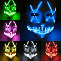 Wholesale mouth light toy for sale - Group buy EL Wire Ghost Mask Colors Slit Mouth Light Up Glowing LED Mask Halloween Cosplay Party Masks LED Toys OOA5535