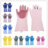 Wholesale garden tools wholesalers for sale - 2pcs pair Magic Washing Brush Silicone Glove Resuable Household Scrubber Anti Scald Dishwashing Gloves Kitchen Bed Bathroom Cleaning Tools