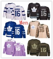 ingrosso foglia di acero bianco-Mens Toronto Maple Leafs 16 Mitchell Marner Hockey Jerseys White Stadium Blue Green Salute 100th Purple Camo