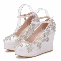 Wholesale white bridal wedge heels - New Fashionl AB Crystal round toe shoes for women white heels fashion platform wedding shoes wedge heel shoes Plus Size Bridal heels