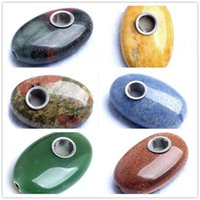 Wholesale metal smoking pipe tube resale online - Newest oval Natural Quartz Crystal Tobacco Smoking Cigarette Hand Herb Yellow Pipes Tube Tool Metal Mesh Accessories Oil Rigs Styles
