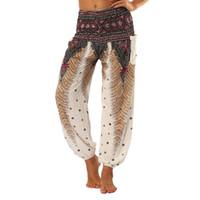 ingrosso leggings delle piume-ISTider Women Comodo Yoga Leggings Donna Pantaloni Pantaloni Estivi Pantaloni sportivi estivi Danza piuma stampata a vita alta