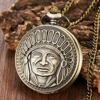 цепочки-лидеры оптовых-Men's Laser Engraved Pocket Watch Ancient  Tribal Leader Carving Flip Fob Watches with Chain for Collection Boy's Gift
