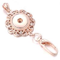 bayan anahtarlıkları toptan satış-Yapış Takı 18mm Yapış Kadınlar Için Anahtarlıklar Gül Altın Kordon Kanca Anahtarlık Kadın Moda anahtarlık ZF014