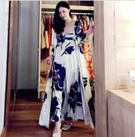 Fashion Blue Print Silk Pajamas Long Nightgown Women s Two Piece Sleeping  Dress Home Wear Pyjamas Sets Nightwear Night Robes 05bd7aded