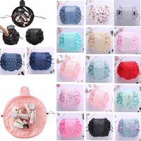Wholesale Print Bags Wholesale - Vely lazy cosmetic bag Flamingo Unicorn print Drawstring bag Makeup Handbags Travel Portable Cosmetic Pouch GGA404 30PCS
