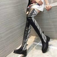 plattform lange stiefel großhandel-High Heels Frauen lange Oberschenkel hohe Stiefel über das Knie Plattform Frauen Schuhe Marke Stretch Stoff und Leder Nähmaterial hohe Stiefel