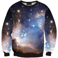 digitale galaxiesweatshirts großhandel-Frauen Sweatshirt Sternenhimmel Galaxy 3D Full Print Mädchen freie Größe Stretchy Hoodies Lady lange Ärmel Tops Digital Sweatshirts (RLSws0228)