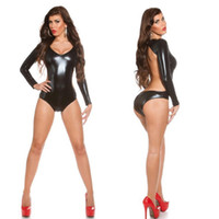 Wholesale one piece costume adult - Women Sexy Teddies Bodysuits Lingerie Tight Evening Performance Faux PU One Piece Adult Sex Play Suit