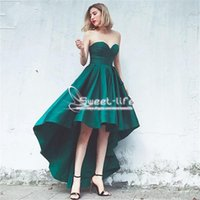 Wholesale Forest Green Dresses - Forest Green 2018 A line Prom Dresses Sweetheart sleeveless Lace up Back High Low Stain Girls Party Homecoming Custom Made Evening Dresses