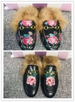 Wholesale rose slippers for sale - Group buy 2018 PRINCETOWN EMBROIDERED LEATHER SLIPPER WITH FLOWER WOOL WOMAN SLIPPERS ROSE BEATIFULS AND FASHION STYLES WITH TOP QULITY