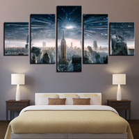 city picture frame 2018 - Modern Home Wall Art Decor Frame Picture 5 Pieces New York City Destruction Abstract Landscape HD Printed Painting Canvas Poster