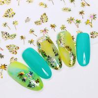 кленовый лист стикер оптовых-1 Sheet Holographic Gold 3D Nail Sticker Floral Leaf Maple Blooming Flower Nail Art Adhesive DIY Transfer Sticker Decoration