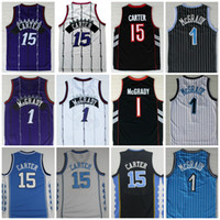 Wholesale gold carolina - Best Quality #15 Vince Carter Jersey #1 Tracy McGrady Jersey North Carolina College Carter Basketball Jersey Purple Black White Stitched
