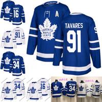 nouveaux chandails de hockey achat en gros de-2018 Nouveau 91 John Tavares Toronto Maple Leafs Jersey 16 Mitch Marner 34 Auston Matthews Hommes Femmes Jeunes Maillots de hockey Lady Blue White