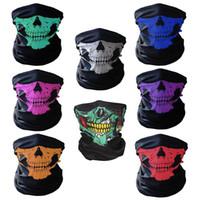 cara bufanda ciclismo al por mayor-Bicicleta Skull Half Face Mask Ghost Scarf Multi Use Calentador de cuello COD regalo de Halloween ciclismo cosplay al aire libre accesorios
