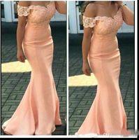 Wholesale peach color short bridesmaid dresses for sale - Group buy 2019 New Cheap Bridesmaid Dresses For Weddings Peach Cap Sleeves Lace Appliques Mermaid Floor Length Formal Maid of Honor Gowns Plus Size