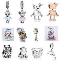 Wholesale character beads for jewelry for sale - Group buy Fits Pandora Sterling Silver Bracelet Boy Girl Bella Robot Teapot Mouse Bear Beads Charms For European Snake Charm Chain Fashion DIY Jewelry