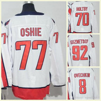 nhl trikots versand großhandel-2018 Herren NHL Jersey # 70 Holtby # 77 Oshie # 92 Kuznetsov # 19 Backstrom # 8 Leere weiße Premier Ice Hockey Jerseys Alex Ovechkin Free Shipping