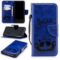 Wholesale strap panda resale online - For Iphone XS MAX X XR Plus SE HELLO Panda Leather Wallet Case Card Slot ID Cash Pocket Cartoon Flip Covers Vintage Coque Strap