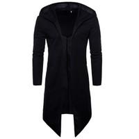 erkek için siyah uzun ceket toptan satış-Siyah Erkek Pelerin Uzun Trençkot Erkekler Hırka Rüzgarlık Erkek Palto Trençkot Ince Kapşonlu Ceket Erkek Artı Boyutu 6XL