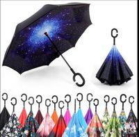 mãos guarda-chuva venda por atacado-60 PCS C-Mão À Prova de Vento Reversa Dupla Camada Guarda-chuva Invertido Dentro Para Fora Auto Suporte À Prova de Vento guarda-chuva 50 projetos