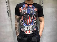 Wholesale plus size clothing skulls - 2018 Summer Mens Fashion T Shirts ear of wheat Skull Rhinestone Print Brand Clothing Man s Short Sleeve T Shirts Plus Size Tee