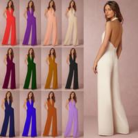Wholesale women dres - 13 Color Jumpsuits women summer Solid Color dres Womens Ladies Clubwear V Neck Summer Long Playsuit Bodycon Party Jumpsuit EEA156 10PCS