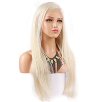 blonde perücken frauen großhandel-Platin Blonde # 60 Reine Haarfarbe Spitzefrontseitenperücke Brasilianische Remy Menschenhaarperücken Pre-Zupfte Natürlichen Haaransatz für Frauen
