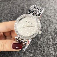 Wholesale gold steel women flower watch resale online - Fashion Brand Wrist Watches for women Girl flower style Metal steel band Quartz Watch M58