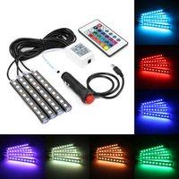 en iyi led ışık şeritleri toptan satış-4 Adet Araba RGB LED DRL Şerit Işık LED Şerit Işıklar renkler Araba Uzaktan Kumanda Ile Araba İç Dekoratif Atmosfer Lambası Araba Styling İyi mallar