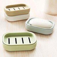 boîte à savon voyage achat en gros de-Nouvelle arrivée Double couche de savon en plastique Dish drain de bain porte-savon Voyage créatif portable Boîte à savon anti-dérapant