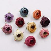 ingrosso teste di boccioli di rosa-16 colori tè rosa bocciolo 5 centimetri peonia falso bouquet da sposa fiori di seta testa decorazione del partito arredamento da giardino