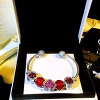 ingrosso crystal heart beads-Braccialetto in argento 925 vero cuore femminile in argento sterling Pandora Bracciale perline europeo con scatola originale con bellissimi gioielli in cristallo