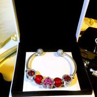 kristall herz armband großhandel-Echt 925 Sterling Silber Frauen Armreif Fit Pandora Red Heart Charms Europäischen Perlen Armband mit Original Box Schöne Kristall Liebe Schmuck